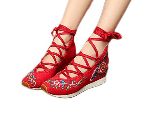 Avacostume Womens Vieux Beijing Floral Broderie Sandales À Brides Hauteur Croissante Coins Rouges