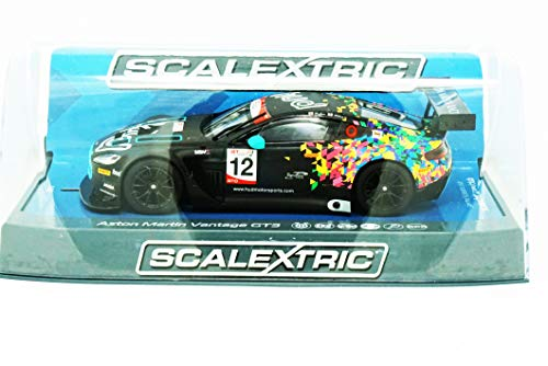 Scalextric Aston Martin GT3 Vantage Brands Hatch GT Cup 2017 1:32 Slot Race Car C3945, Black & Multi Colored