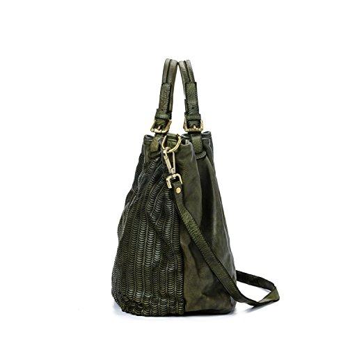 Mujer En Italy Y Con Bandolera Bag Angeles Ira Verde De Mujer Vintage El Los Made Tejida Del Para Modelo Bolso Confeccionado Auténtica Valle Grande Piel In Correa Hombro 1ffqFOwaY