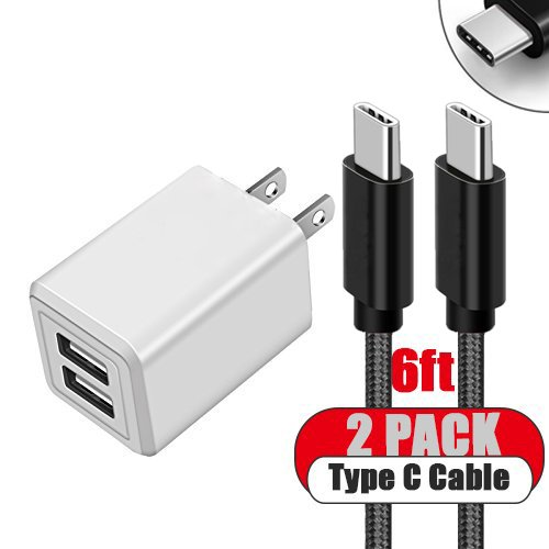 Phone Charger 2.1A 10.5W Dual USB Portable Travel Wall Charger with Foldable Plug and 2 Pack 6FT USB Type C Cable Fast Charger for Macbook, LG G6, Pixel, Nexus 6P, Nintendo Switch, Galaxy S8+