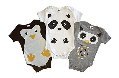 [CHUBS 3 Pack, Unisex Baby Bodysuits, Cute Baby Shower Gift, Penguin, Owl & Panda Animal Prints (3-6] (Panda Outfits For Babies)