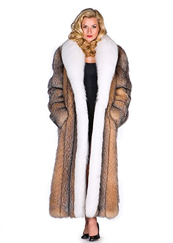 Long Fox Fur Coat For Women Real Full Length White Fox Trim Crystal Fox Body 10