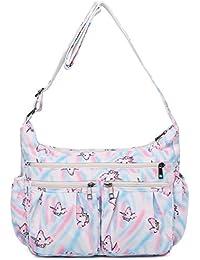 Crossbody Bags for Women, Multi Pocket Shoulder Bag Waterproof Nylon Travel Purses and Handbags (8981-Unicorn-Large)