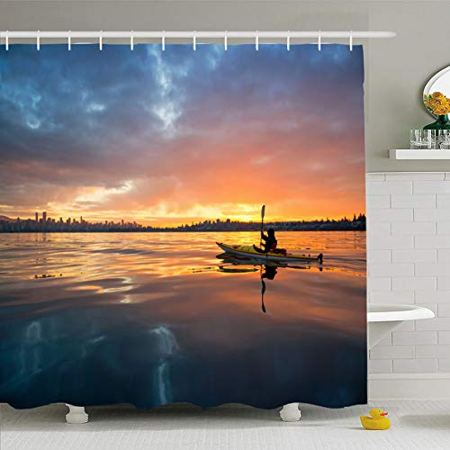 Ahawoso Shower Curtain 72x72 Inches Canada Vancouver Winter Sunrise On Adventure Water Nature Kayak Sports Recreation Amazing Design Waterproof Polyester Fabric Set with Hooks]()