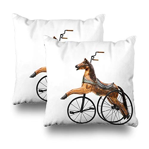 Set of 2 Decorativepillows Case Throw Pillow Covers for Couch/Bed 18 x 18 inch,Horse Bike Antique Toy Vintage Old Christmas Bicycle Home Sofa Cushion Cover Pillowcase Gift ()