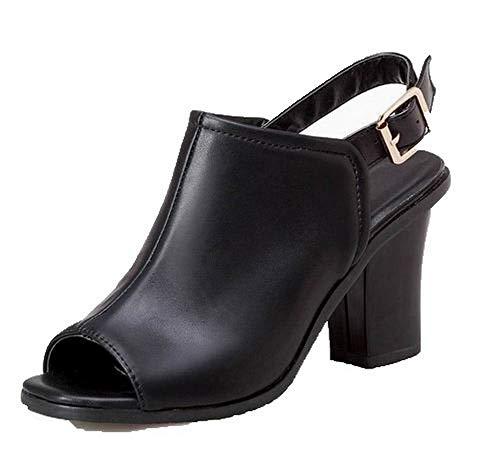 Sandalias De Pu Aalardom Mujeres Alto Hebilla Con Vestir Tsmlh007919 Sólido Tacón Negro 6q800w