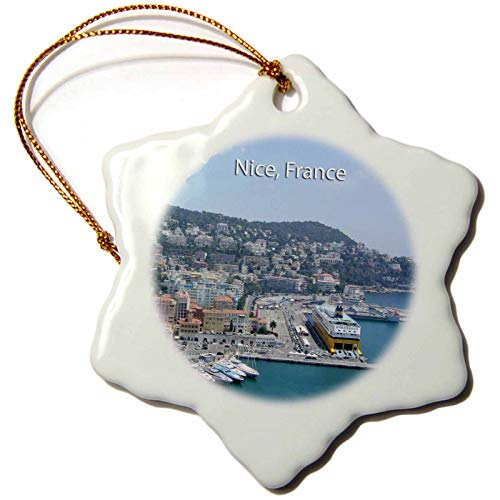 3dRose orn_162579_1 Harbor in Nice South France French Riviera Mediterranean Coastal Town City Snowflake Porcelain Ornament, 3-Inch ()