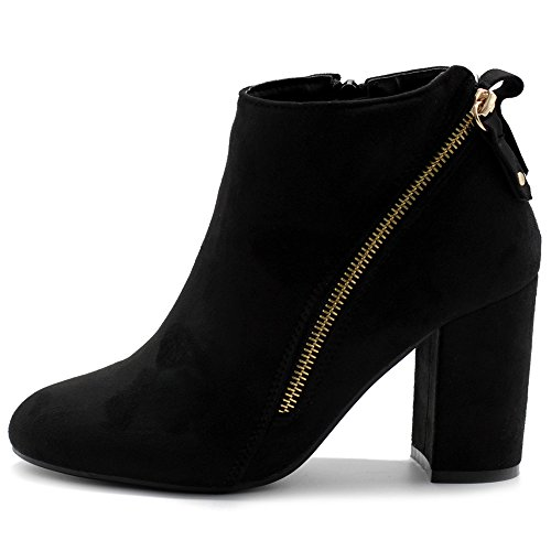 Chunky Women's Heels Booties Ankle Zipper Faux Shoe Black Suede TWB0108 Ollio Accent xZcwH1B00q