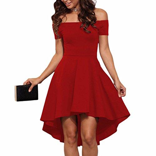 QIYUN.Z Vestido Irregular Del Vestido Del Swallowtail Del Dobladillo Del A-Line Atractivo Del Cuello Slash De Las Mujeres Rojo