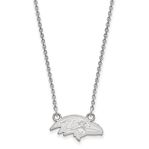 (NFL Sterling Silver Baltimore Ravens Small Pendant with Necklace)