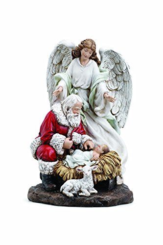 Napco Santa and Angel with Baby Jesus 9.5 Inch Resin Christmas Tabletop Figurine