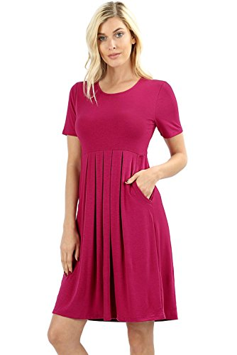 Women's Pleated Swing Dress Short Sleeve Casual T Shirt Loose Dress with Pockets - Magenta ()