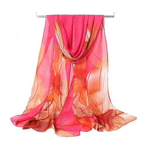 (Women's Chiffon Scarf Lightweight Fashion Sheer Scarfs Shawl Wrap Scarves (Water Hibiscus&Red), 16050CM)