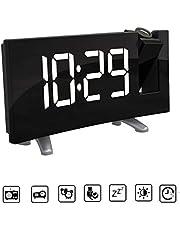 "Projection Ceiling Wall Clock Digital Projector Radio Alarm Clock FM Radio Clock 7.1"" Wide Curved Screen LED Digital Desk/Shelf Clock USB Charging (Green Display)"