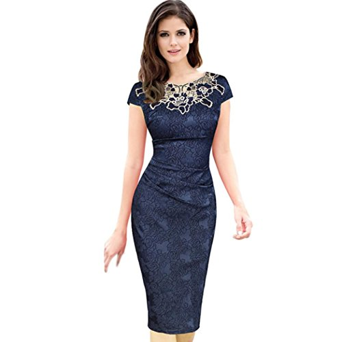 FORUU Dresses for Womens Work Vintage Hollow Out Embroidery Pencil Evening Party