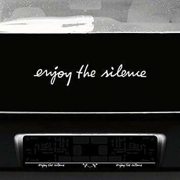 Greenit Schriftzug Enjoy The Silence Aufkleber Tattoo Die Cut Car Decal Auto Heck Deko Folie Depeche Mode Weiß Auto