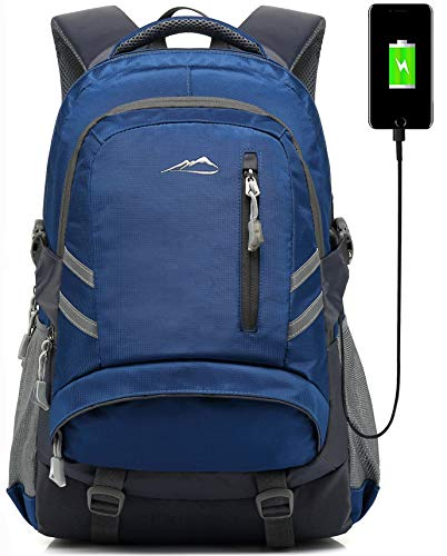 Backpack Bookbag for School College Student Sturdy Travel Business Laptop Compartment with USB Charging Port Luggage Chest Straps Night Light Reflective (Navy Blue)