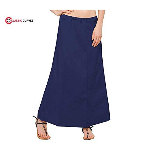 Inskirt Bleu CURVES Indiennes Peticoat Femmes Libre Readymade Marin Saree Coton des CLASSIC Taille Underskirt vn7H6qp6WU