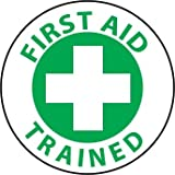 NMC HH73 2'' x 2'' PS Vinyl Hard Hat Emblem w/Legend: ''First Aid Trained'', 12 Packs of 25 pcs