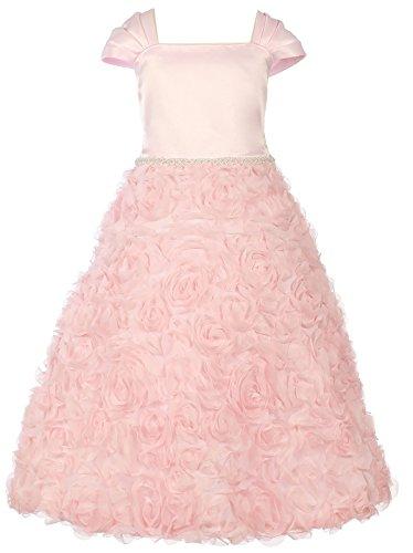 Big Girl Full Rosette First Communion Dress Wedding Flower Girl Dress Pink 10 KD 320 ()
