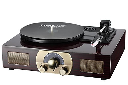 Vinyl Record Player, LuguLake Turntable with Stereo 3-Speed, Built-in BT Speakers, Record Player, FM Radio and RCA Output, Vintage Phonograph with Retro Wooden Finish 4
