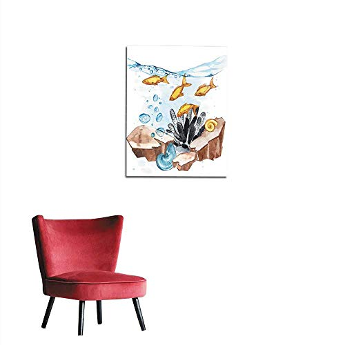 longbuyer Painting Post Marine Life Landscape - The Ocean and The Underwater World with Different inhabitants Aquarium Concept for Posters T-Shirts Labels websites Postcards Mural 20
