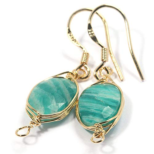 Natural Stone Wire Wrap Dangle Drop Earrings Gold Plated 925 Sterling Silver Hook/Amazonite Oval