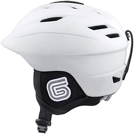 Grayne MTN Ski and Snowboard Helmet White w Audio Ready Liner