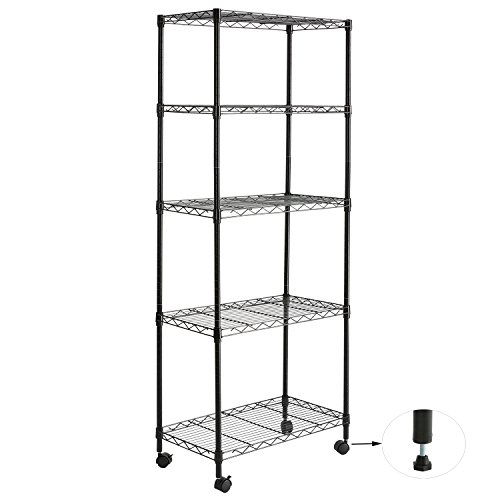 Standing Wire - DOEWORKS Storage Shelf with Wheels 5-Tier Standing Shelf Unit Adjustable Wire Shelving Rolling Rack