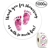 1.5 Inch Round Baby Shower Stickers, Thank You for Showering Us with So Much Love - Pink Foot Stickers, Total 1000 Labels Per Roll