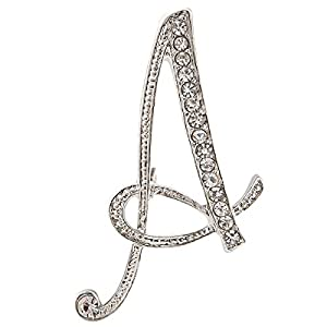 Diamond 26 English Letter Brooch Badge Collar Pin Buckle Suit Shirt Flower Accessories