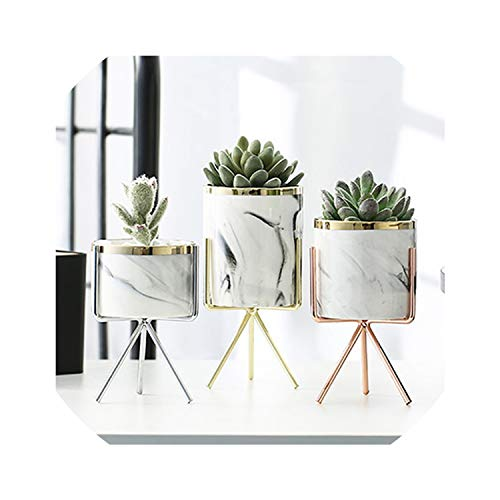 Nordic Marble Pattern Vase Ceramic Iron Art Vase Rose Gold Silver Tabletop Green Plant Flower Pot Home Office Vases Decorative,Silver L - Gold Silver Flowers