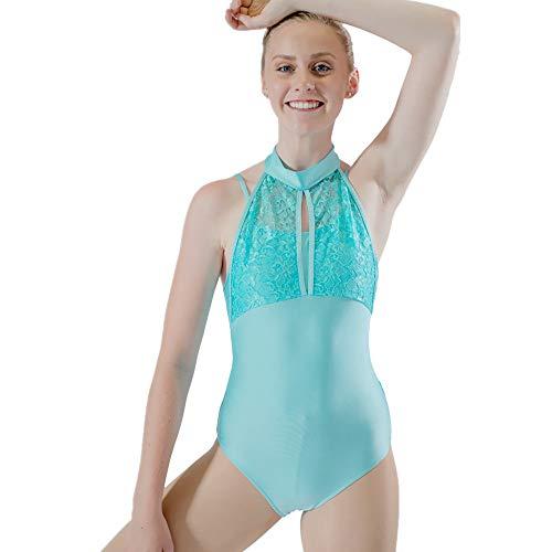 f121e76bd0 HDW DANCE Women Shiny Lace Turtle Neck Ballet Dance Leotard Gymnastics  Bodysuit