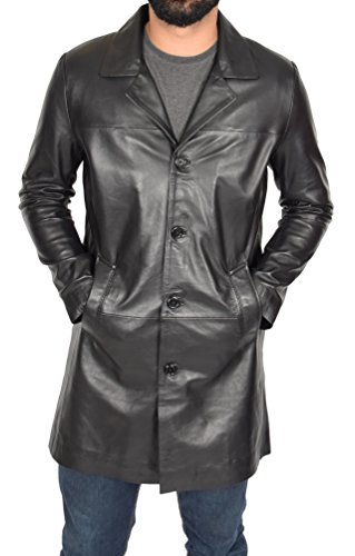 Mens 3/4 Long Black Leather Coat Crombie Style Jacket Overcoat Classic Trench Jones (Large) Genuine Trench Coat