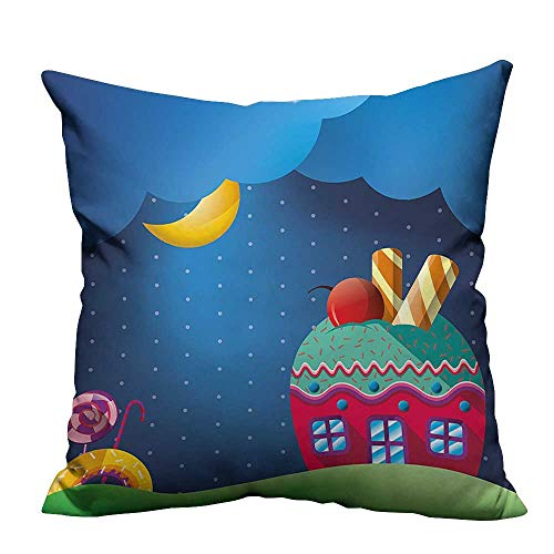 YouXianHome Throw Pillow Cover for Sofa Cupcake House Candi Lollipops and Sun Sweet Landscape Multicolor Textile Crafts (Double-Sided Printing) 20x20 inch