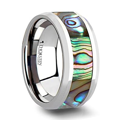 MAUI Tungsten Wedding Band with Mother of Pearl Inlay - 6 mm - 10 mm ...
