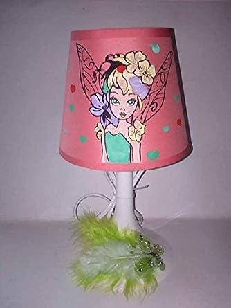 Lampe De Plumes Chevet Papillon Strass Fée Main Peint HYD2IWE9