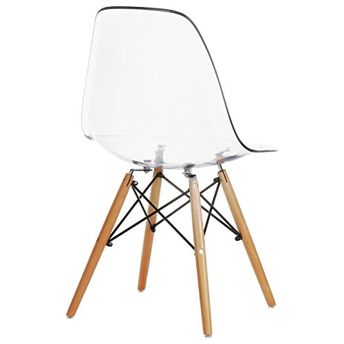 Nicer Furniture Set of Two (2) Clear - Eames Style Side Chair with Natural Wood Legs