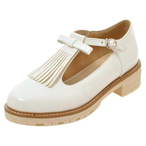 Coolcept Zapatos T-bar con Flecos para Mujer White