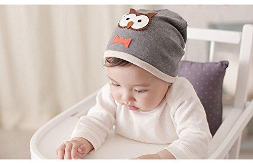 Baby Toddler Boy Girl Owl Cotton Beanie Hat (Grey)
