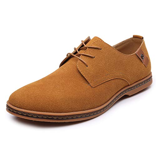 iFOMO Lace-up Faux Leather Suede Business Casual Oxford Shoes for Men Coffee US:11.5
