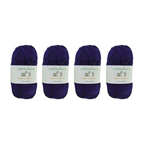 Lace Weight Tencel Yarn - Delightfully Fine - 60% Bamboo 40% Tencel Yarn - 4 Skeins - Col 24 Romantic Midnight Blue (Midnight Blue Knitting Yarn)