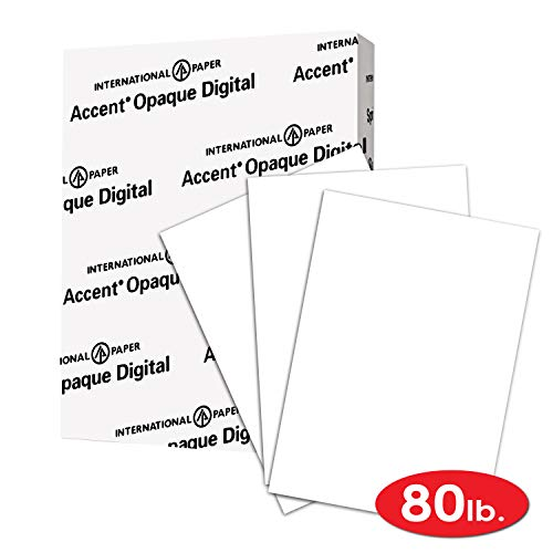 - Accent Opaque Thick Cardstock Paper, White Paper, 80lb Cover, 216 gsm, Letetr Size, 8.5 x 11 Paper, 97 Bright, 1 Ream / 250 Sheets, Super Smooth, Heavy Card Stock (121947R)