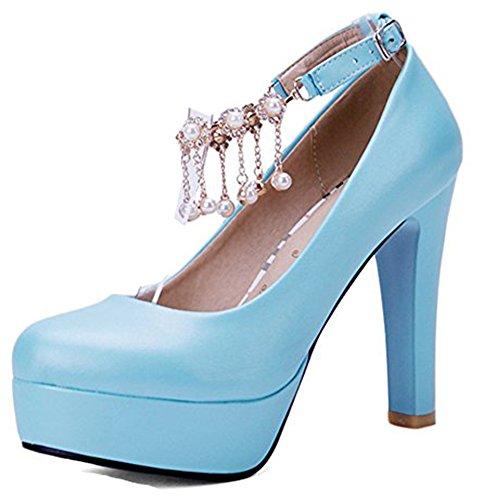 Bleu Femme Aisun Talon Escarpins Mode Haut Bout Rond d8C0xZCwq