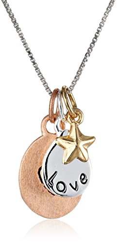 "Tri-Colored Gold Flashed Sterling Silver ""Love"" with Heart and Star Three-Charm Necklace, 18"""