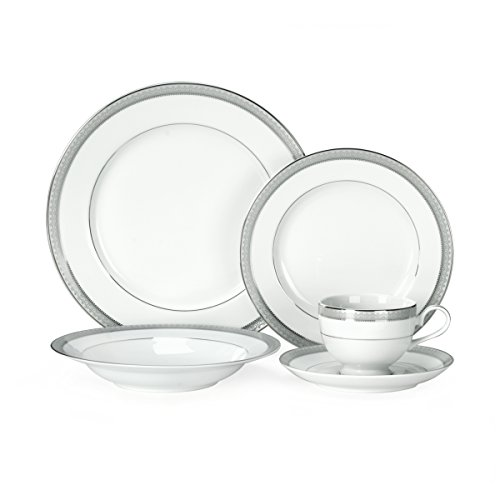 Mikasa Platinum Crown 40-Piece Dinnerware Set, Service for - Platinum Dinner Crown Plate