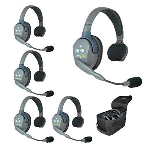 Eartec UL5S 5-Person Full Duplex Wireless Intercom with 5 Ultralite Single Ear Headsets ()
