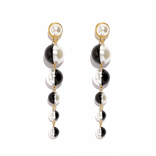 MOOCHI Black&White Simulated Pearl Beads Long Dangle Trendy Earings Elegant String Statement Wedding Party Gift for -