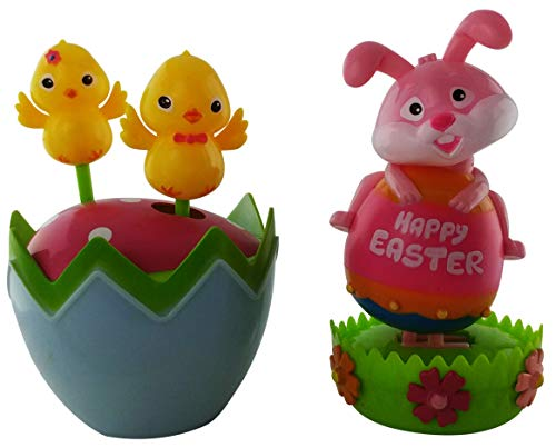 Susie's Gift Shop Easter Solar Dancing Toys: Happy Easter Bunny Toy and 2 Newly Hatched Baby Solar Dancing Chickens (2 Pack)