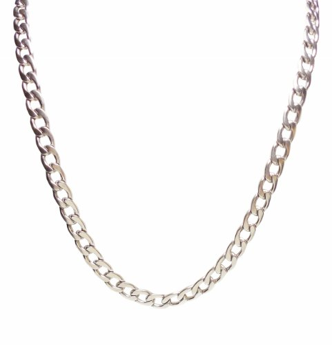 Necklace - Mens 28 Inch Stainless Steel Silver Tone 8mm Smooth Curb Style Chain - Rickis Wave chain